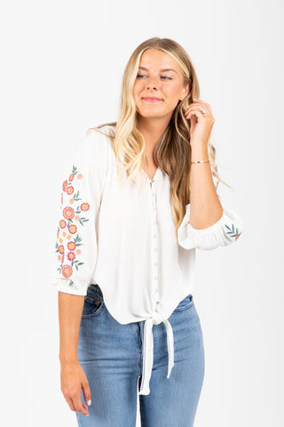 The Oliver Floral Button Up Blouse in Lavender