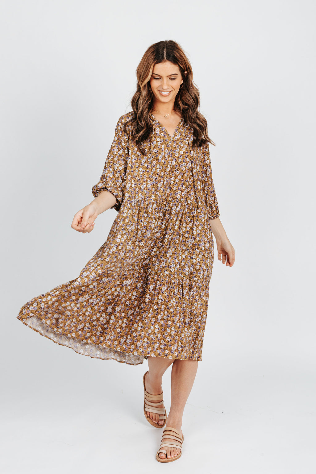 The Hailey Ditsy Floral Dress in Mustard, studio shoot; front view
