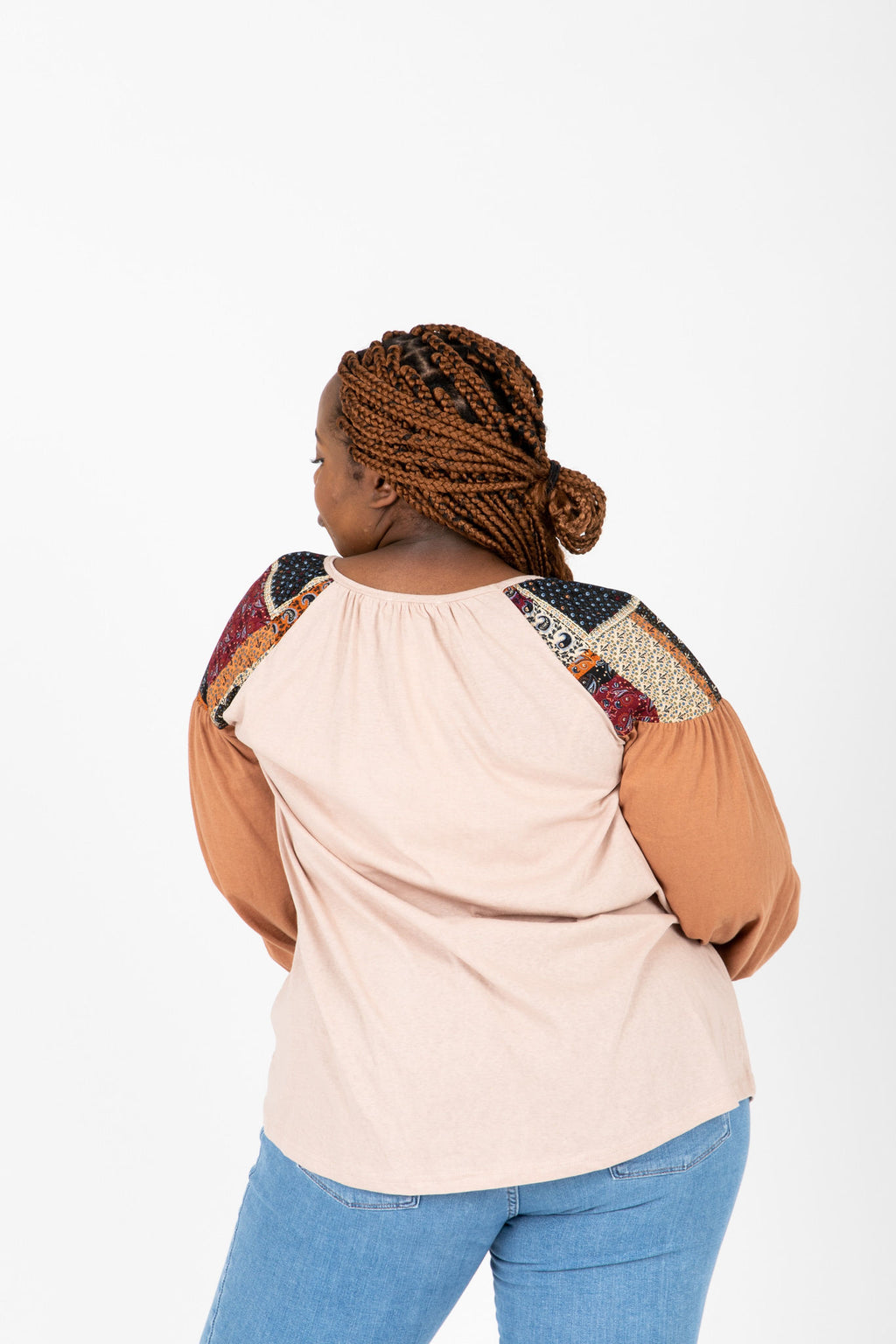 The Marano Contrast Sleeve Blouse in Taupe, studio shoot; back view