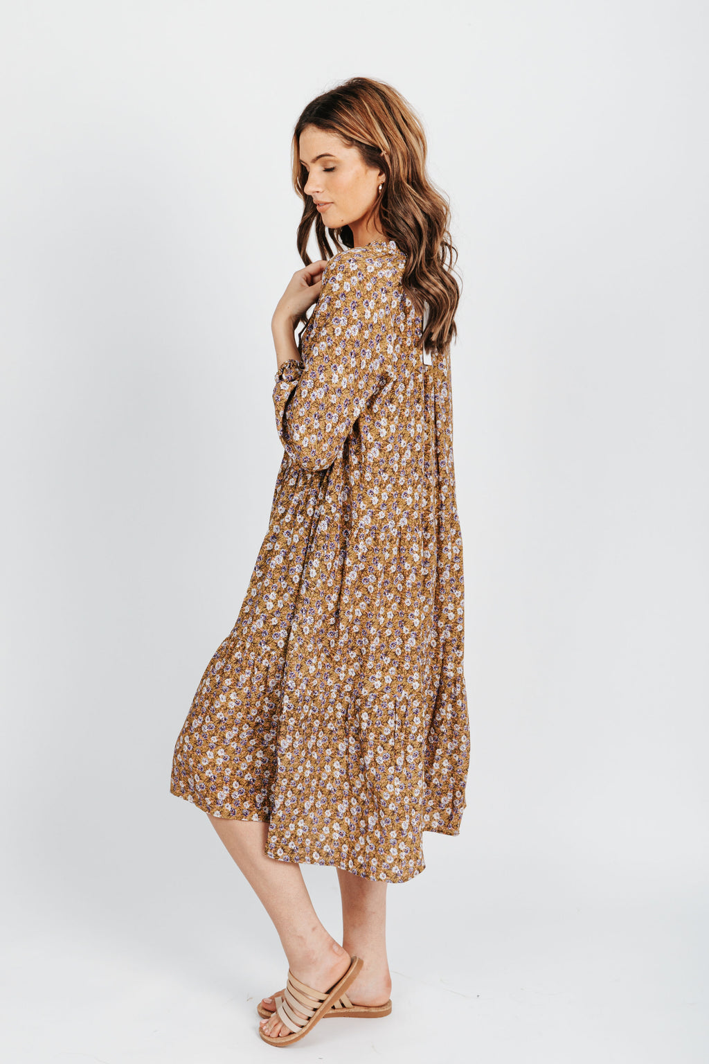 The Hailey Ditsy Floral Dress in Mustard, studio shoot; side view