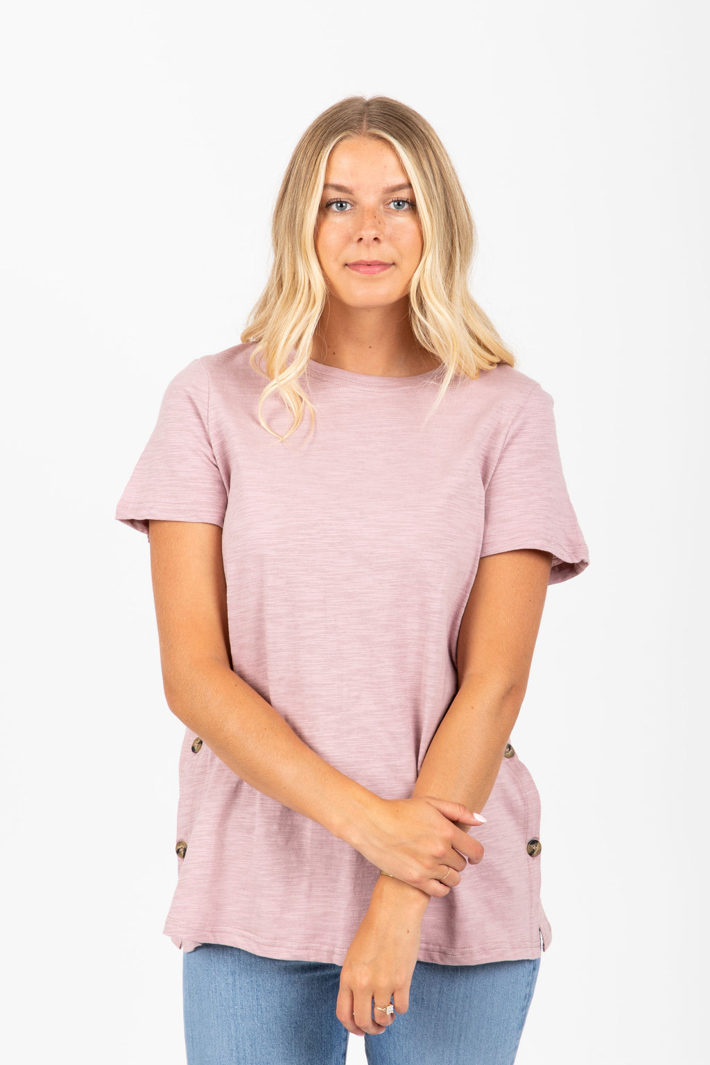 The Rotem Button Blouse in Mauve