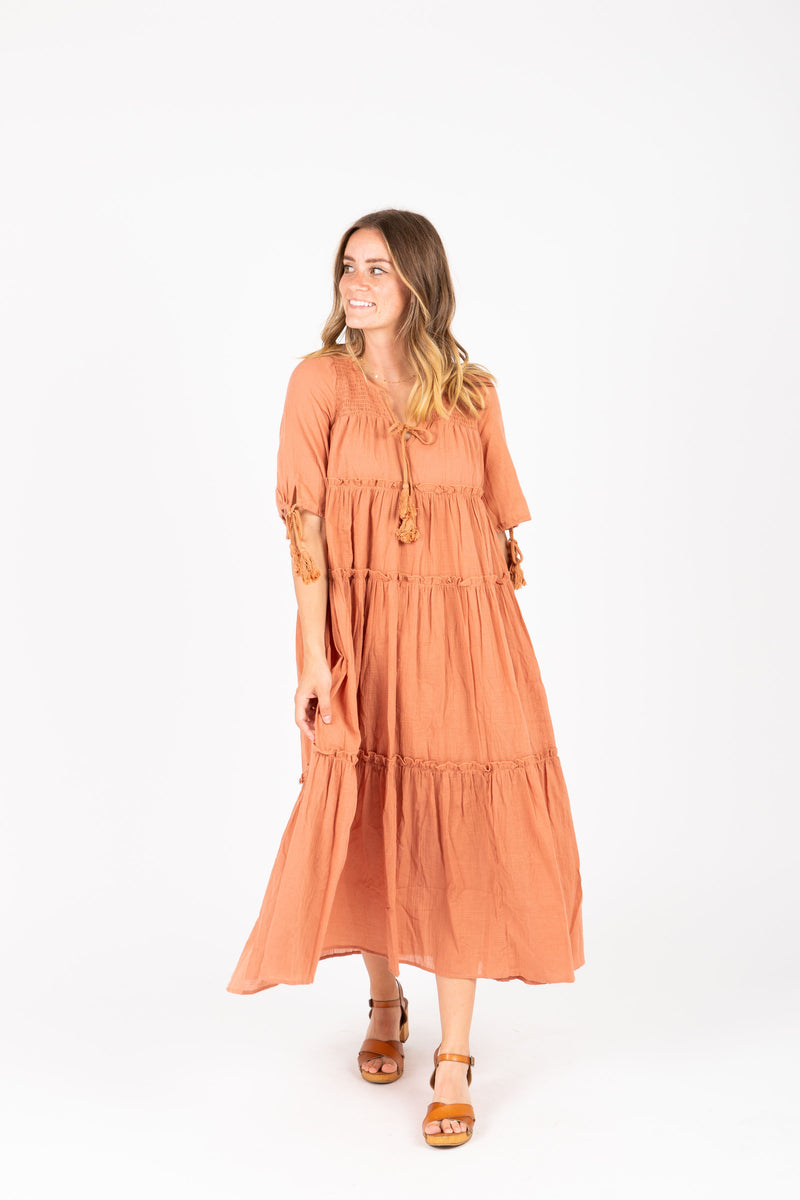 The Bruns Tiered Maxi Dress in Clay, studio shoot; front view