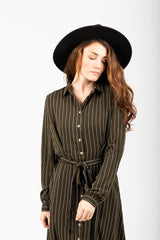 The Gladstone Striped Button Up Dress in Olive