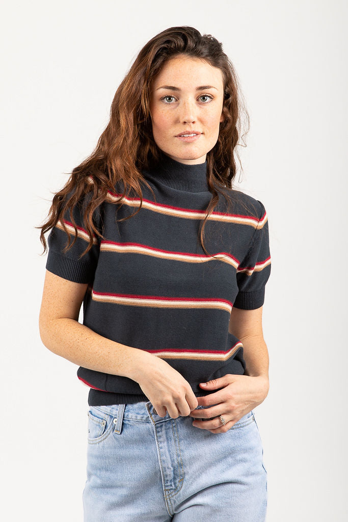 The Bruce Striped Mock Neck Blouse in Charcoal