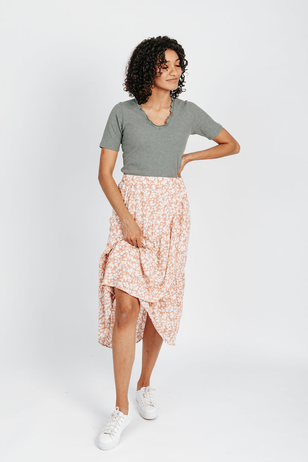 The Coast Floral Skirt in Pink, studio shoot; front view