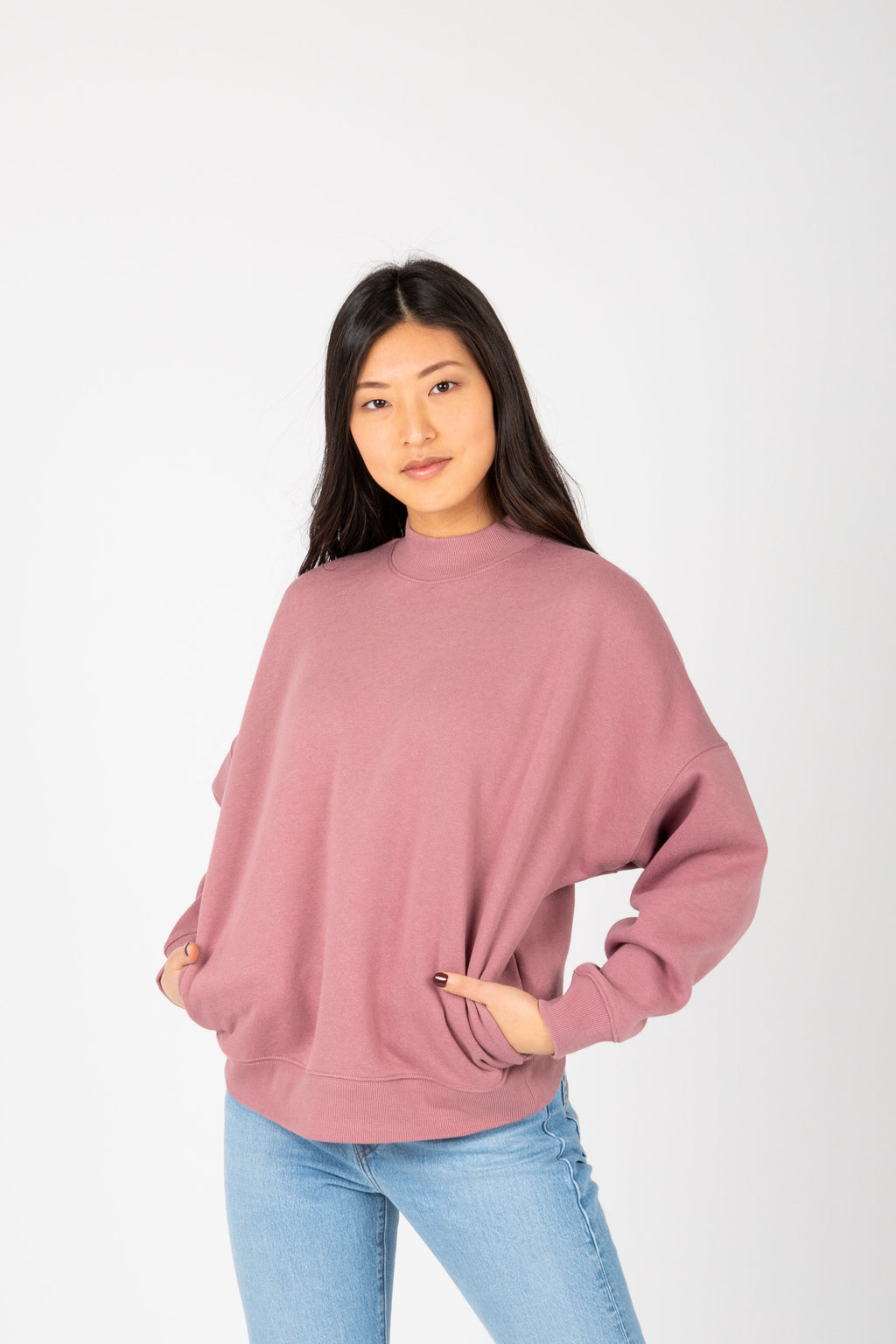 The Troy Casual Sweatshirt in Mauve, studio shoot; front view