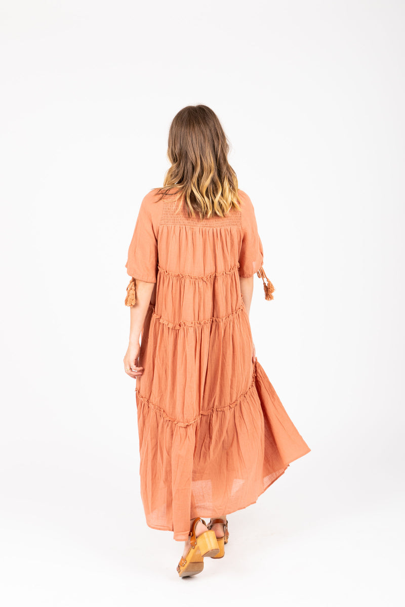 The Bruns Tiered Maxi Dress in Clay, studio shoot; back view