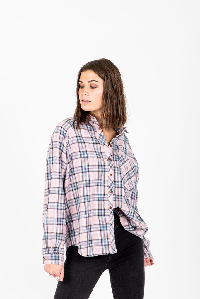 The Cohen Plaid Flannel in Mauve