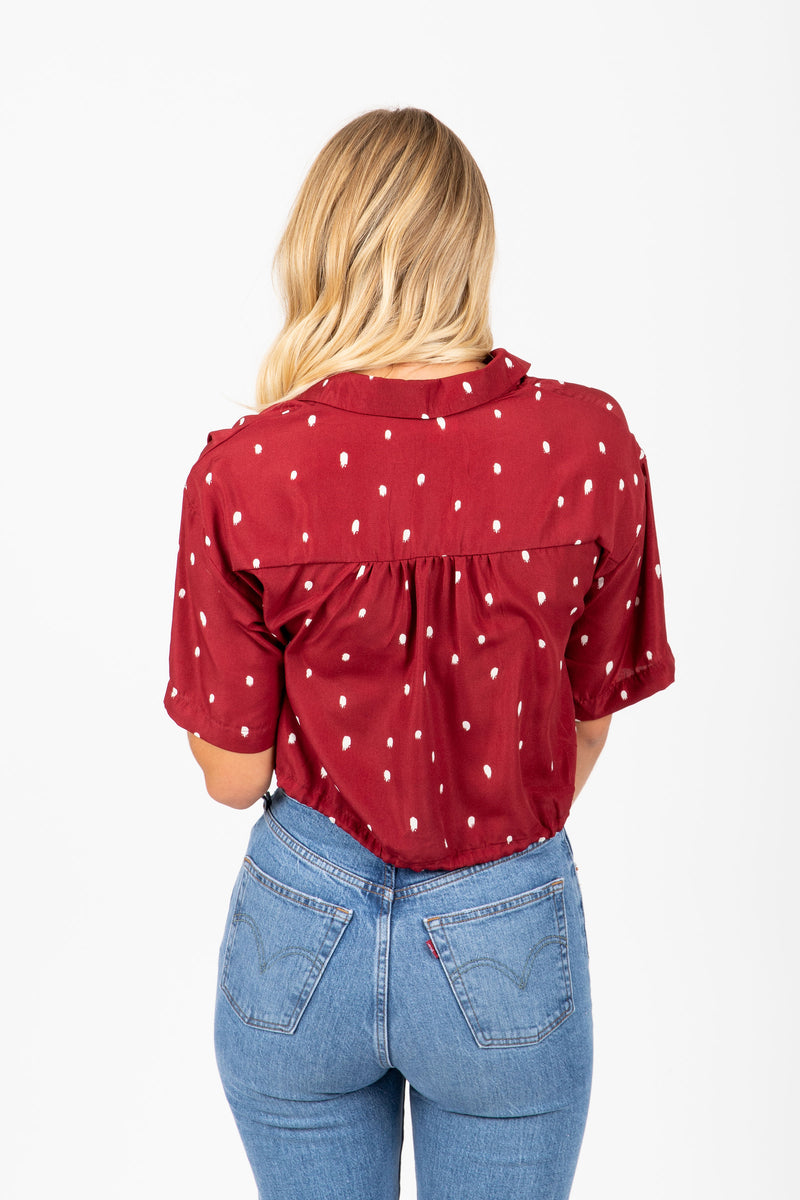 The Atlee Patterned Button Up Blouse in Burgundy