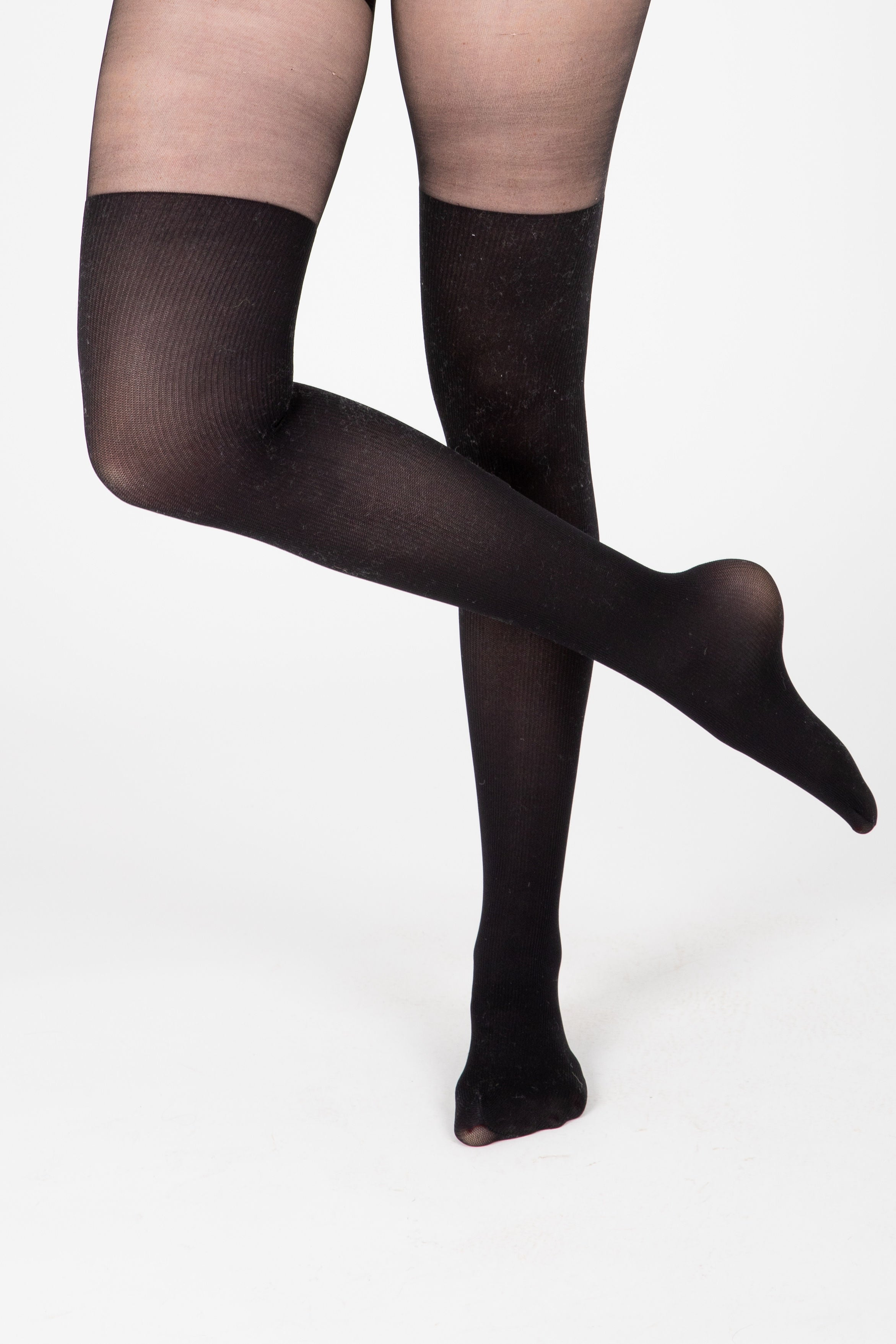 Over-The-Knee Contrast Tights in Black