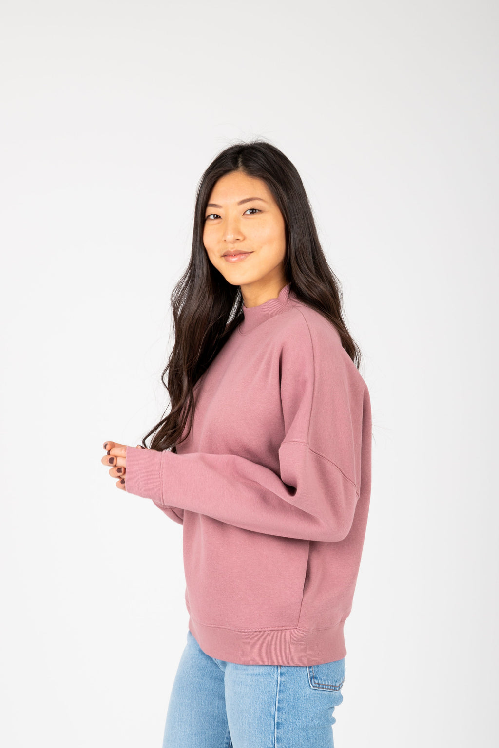 The Troy Casual Sweatshirt in Mauve, studio shoot; side view