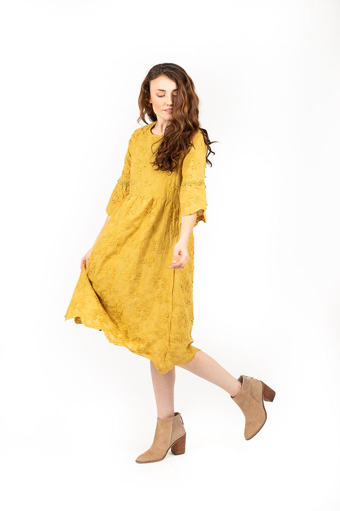 The Roxie Floral Lace Textured Dress in Mustard