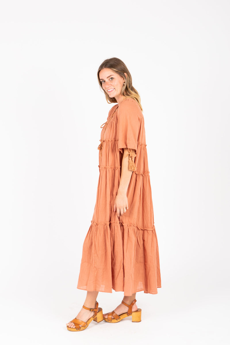The Bruns Tiered Maxi Dress in Clay, studio shoot; side view