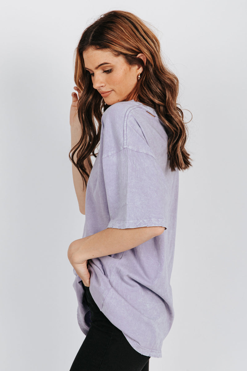 , The Whitney Distressed Tee in Lavender, studio shoot; side view