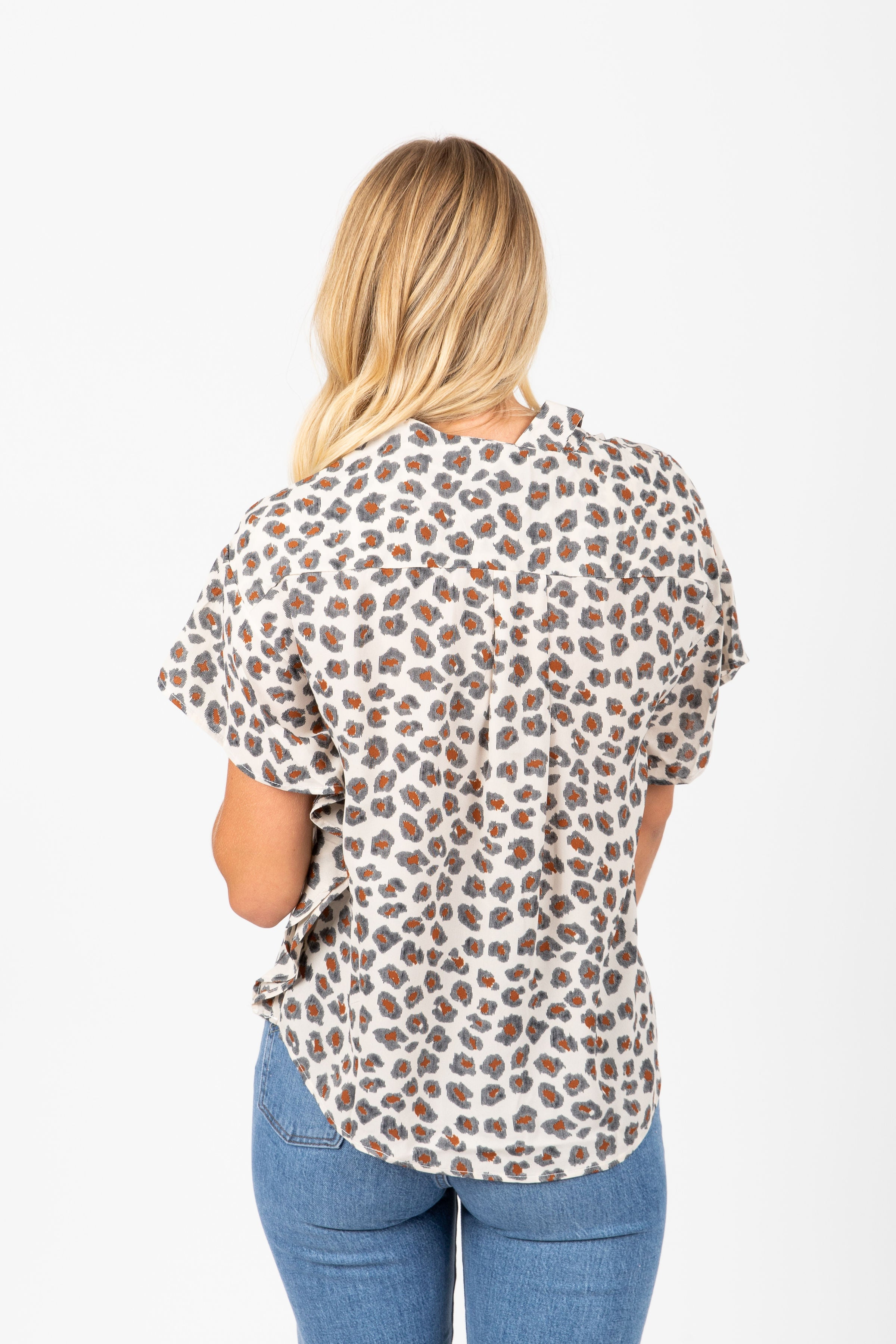 The Beyond Button Up Blouse in Leopard