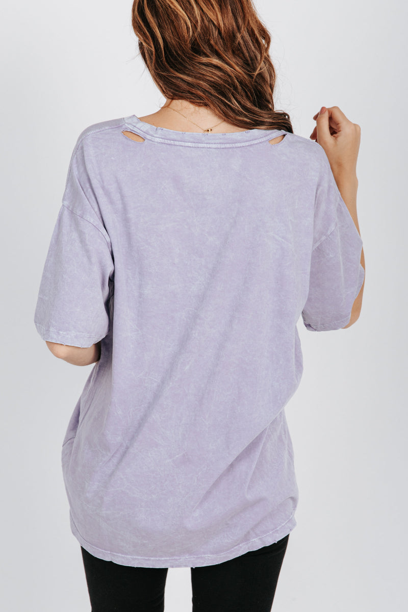 , The Whitney Distressed Tee in Lavender, studio shoot; back view