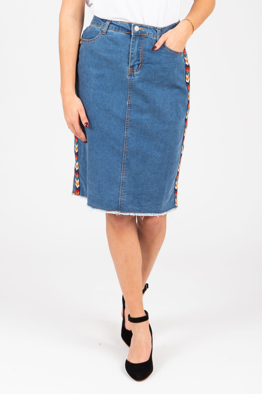 The Joyann Denim Midi Skirt, studio shoot; front view