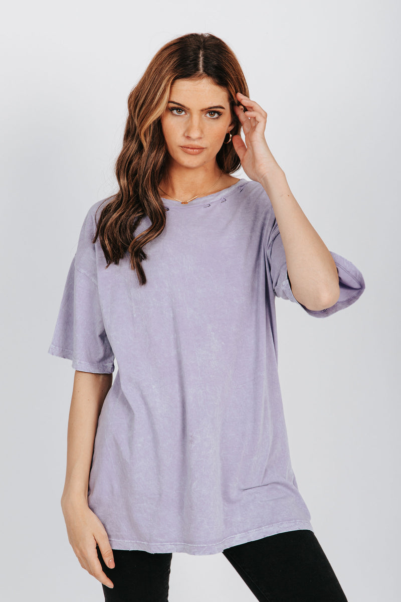, The Whitney Distressed Tee in Lavender, studio shoot; front view