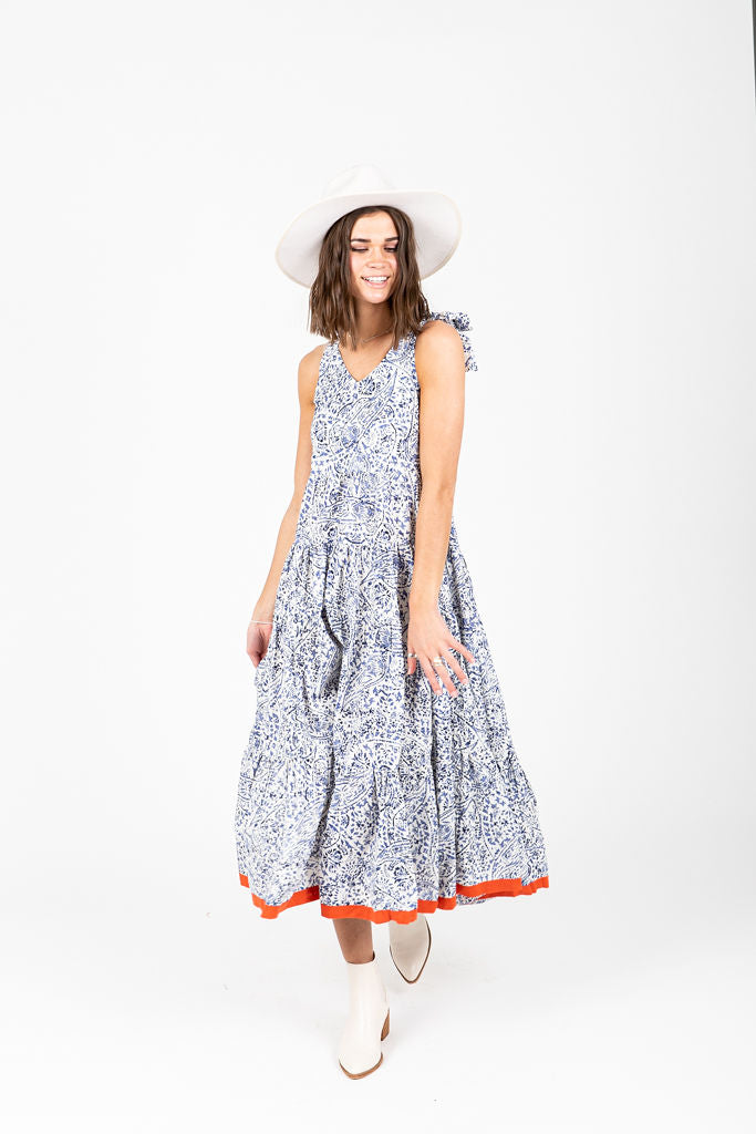 The Kirby Patterned Dress in Blue, studio shoot; front view