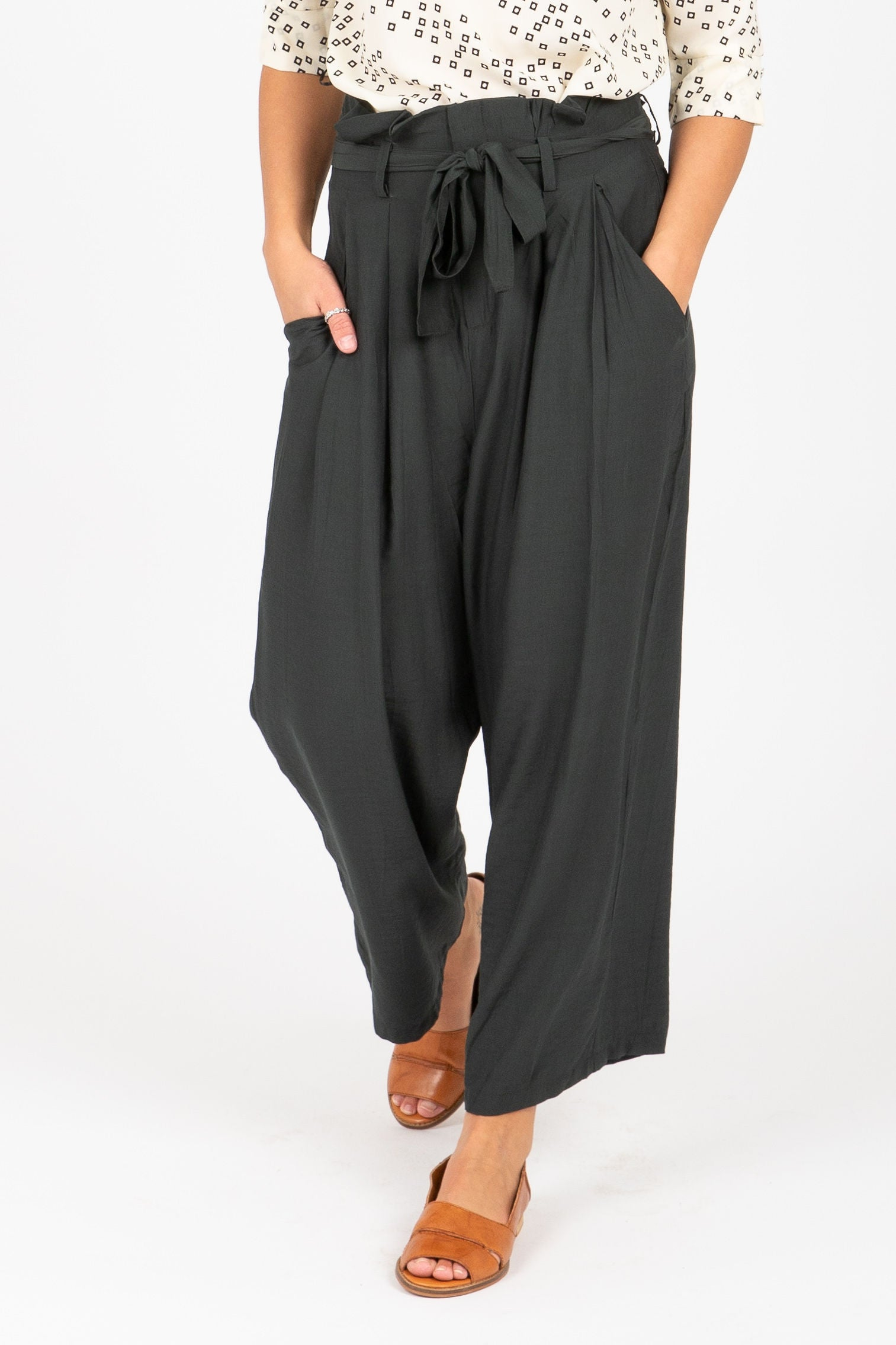 The Kapish High Waisted Casual Trouser in Deep Forest
