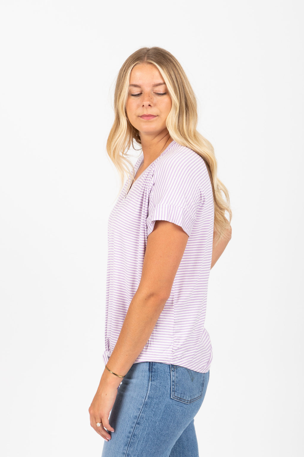 The Lucia Striped Tie Front Blouse in Lilac
