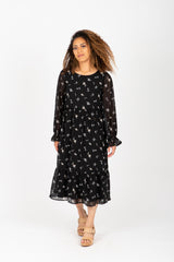 The Scales Patterned Midi Dress in Black