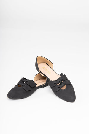The GABIA Knotted d'Orsay Flat in Black, studio shoot; front view