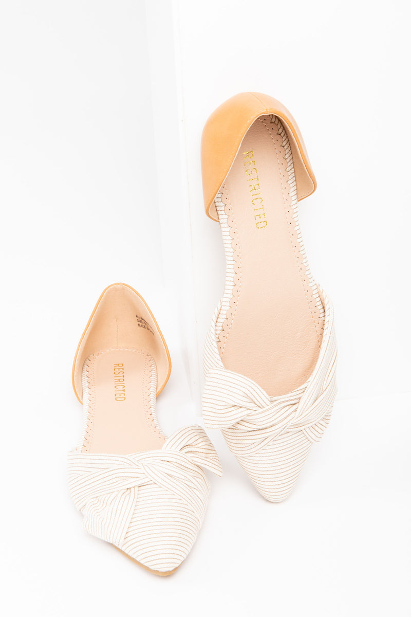 The JASMINA d'Orsay Flat in Natural/Camel, studio shoot; front view