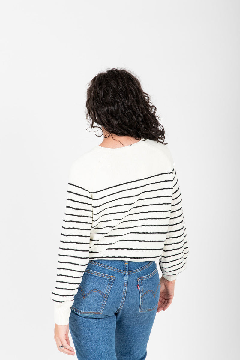 The Angelo Button Knit in Black Stripe, studio shoot; back view