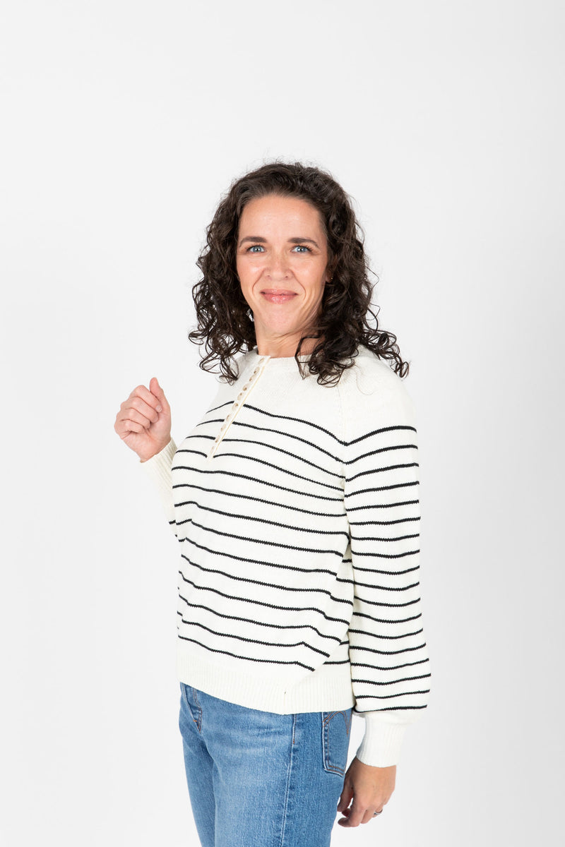 The Angelo Button Knit in Black Stripe, studio shoot; front view