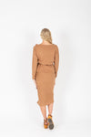The Miley Ruffle Knit Blouse in Tan, studio shoot; back view