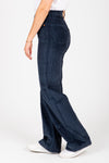 Levi's: Ribcage Wide Leg Corduroy Pants in Navy Blue Cord, studio shoot; side view