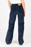Levi's: Ribcage Wide Leg Corduroy Pants in Navy Blue Cord, studio shoot; back view