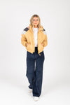 Levi's: Ribcage Wide Leg Corduroy Pants in Navy Blue Cord, studio shoot; front view