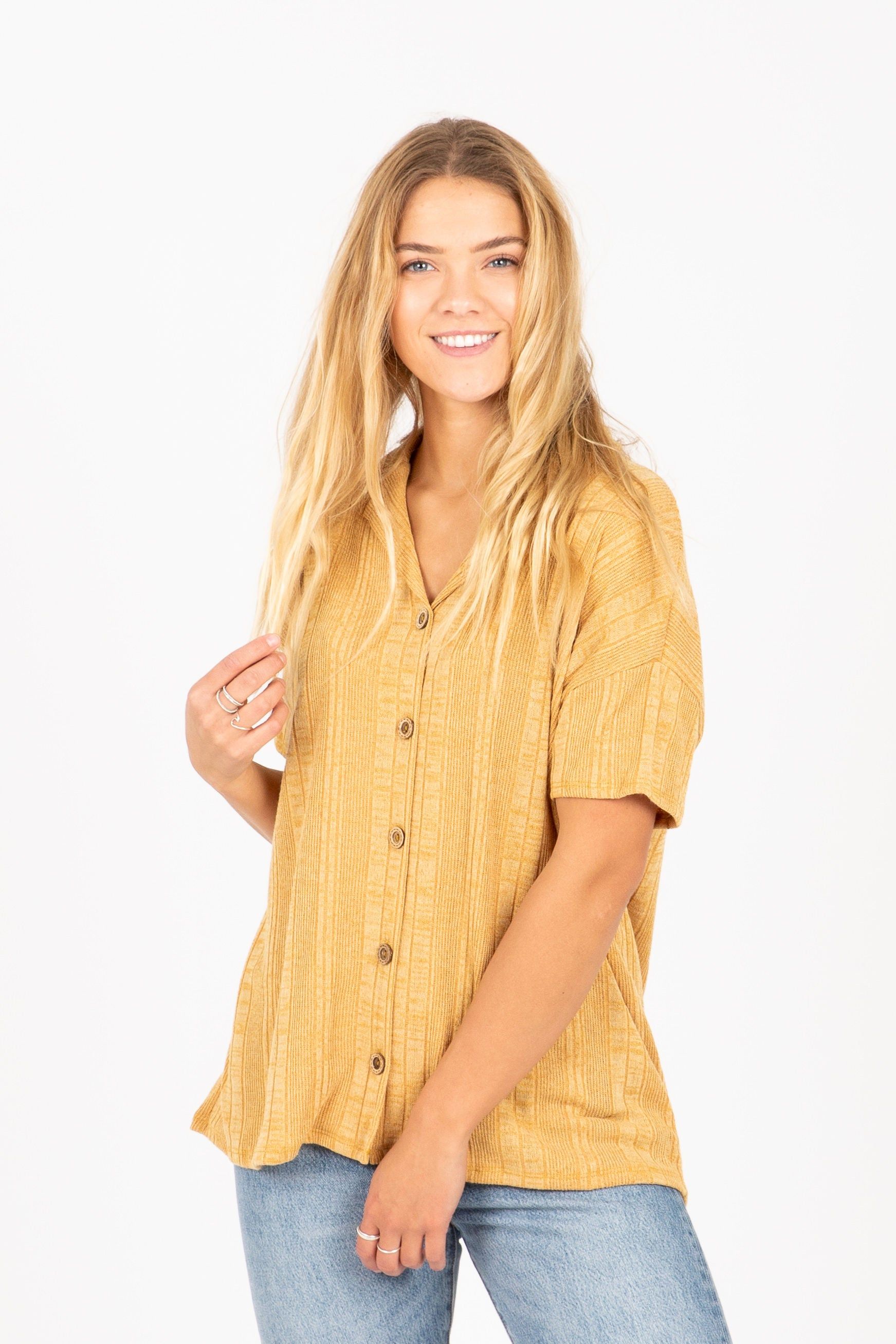 The Maiden Ribbed Button Up Blouse in Camel