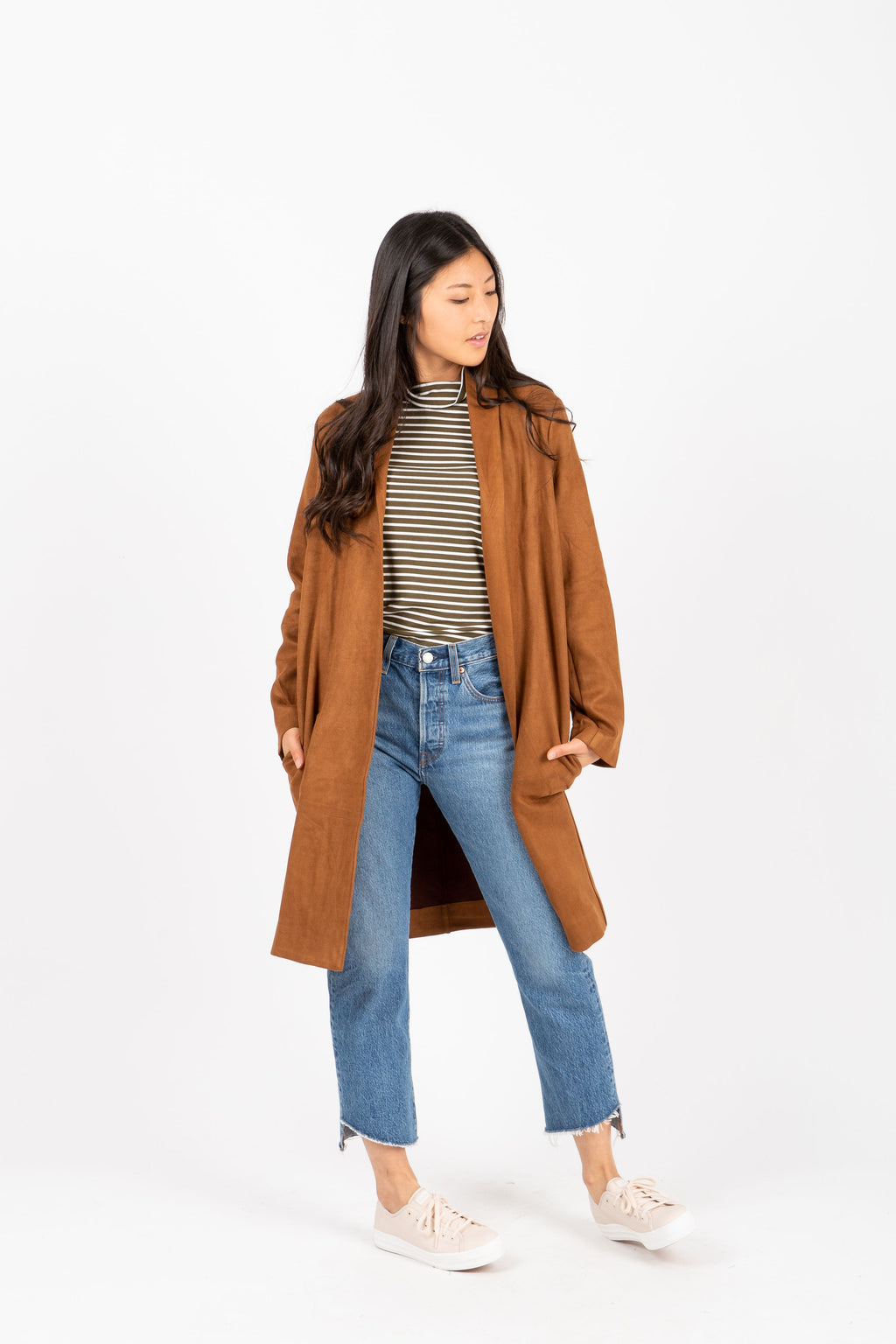 The Whalen Suede Cardigan in Saddle, studio shoot; front view