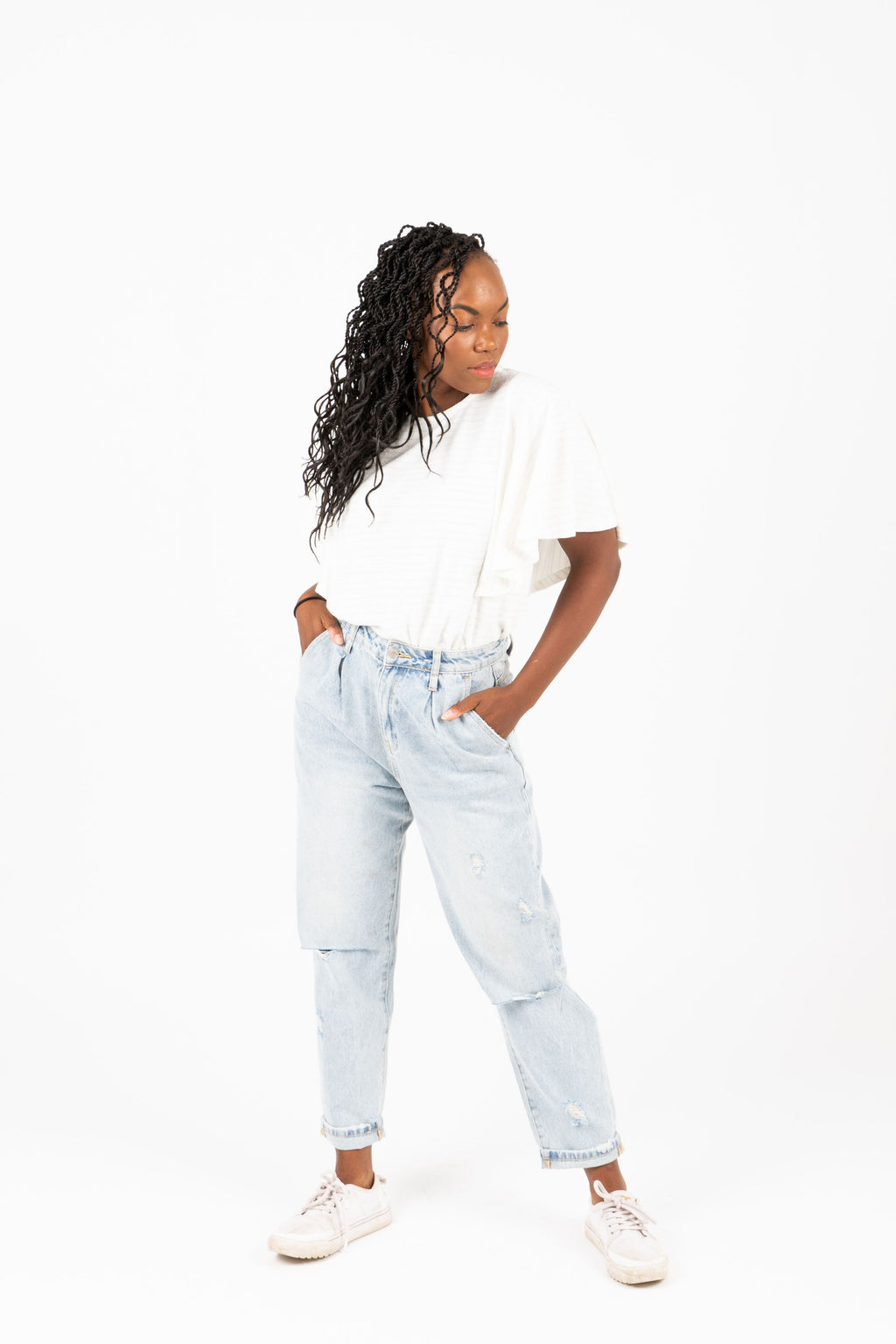 The Nelson Paperbag Jeans in Light Wash