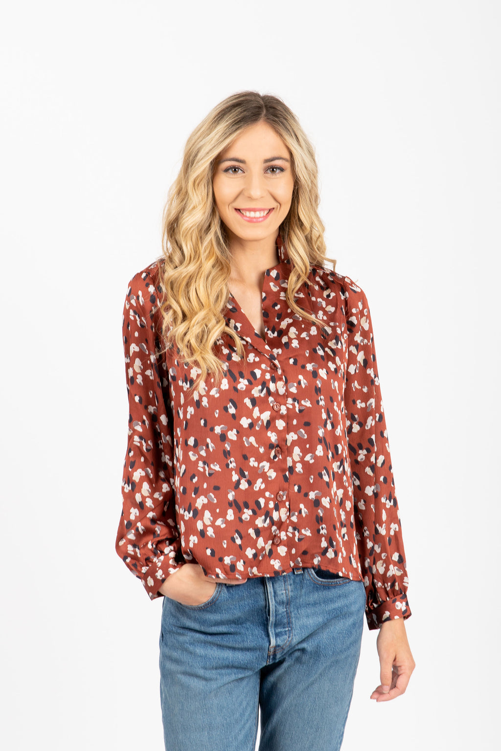 The Faye Floral Button Blouse in Mocha, studio shoot; front view