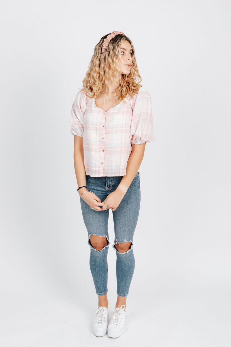 The Pauline Gingham Blouse in Pink Plaid, studio shoot; front view