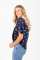 The Blossom Multi Dot Button Up Blouse in Navy