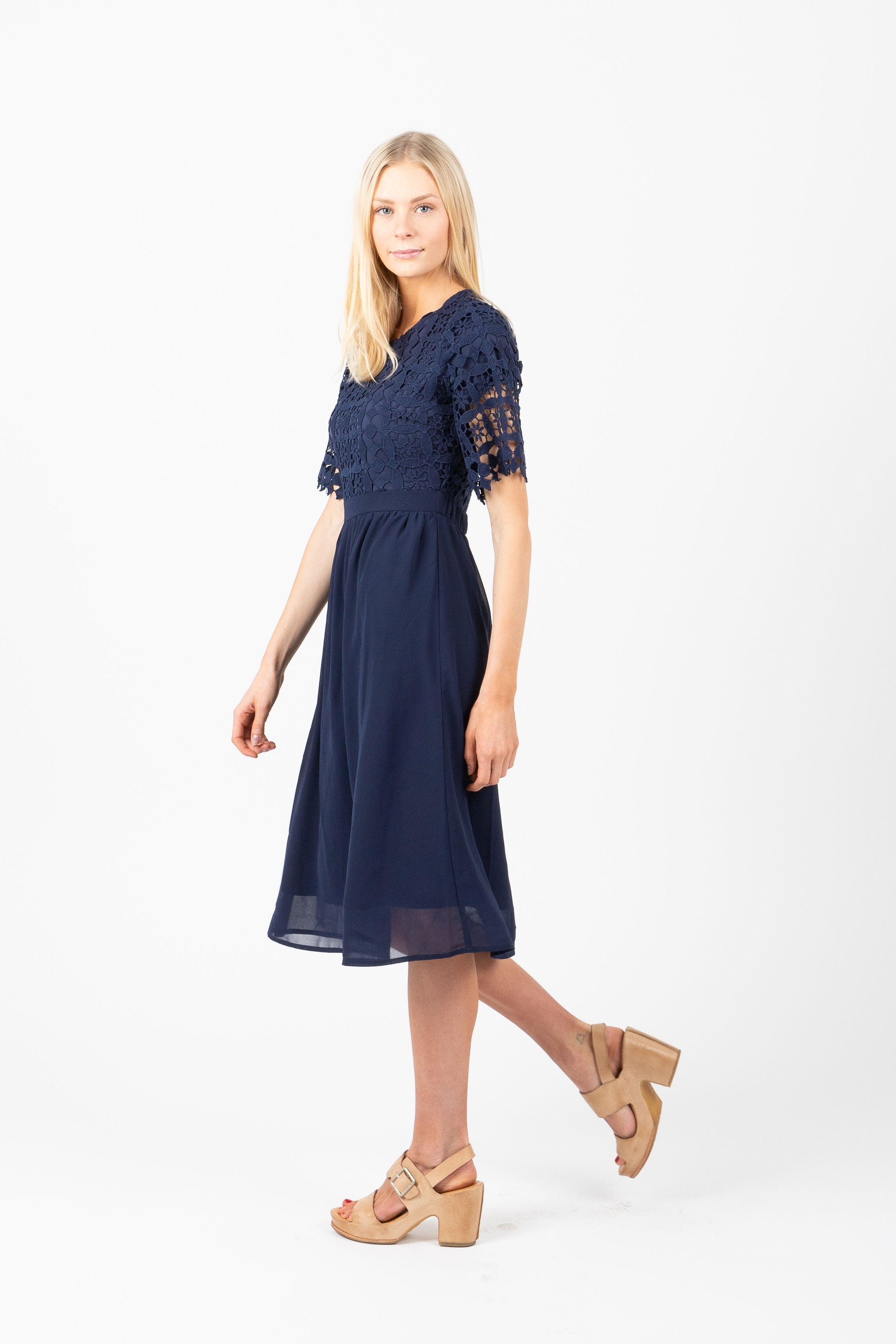 The Nashua Lace Top Dress in Navy