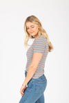 The Strickland Striped Tee in Multi, studio shoot; side view