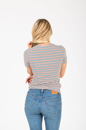 The Strickland Striped Tee in Multi, studio shoot; front view