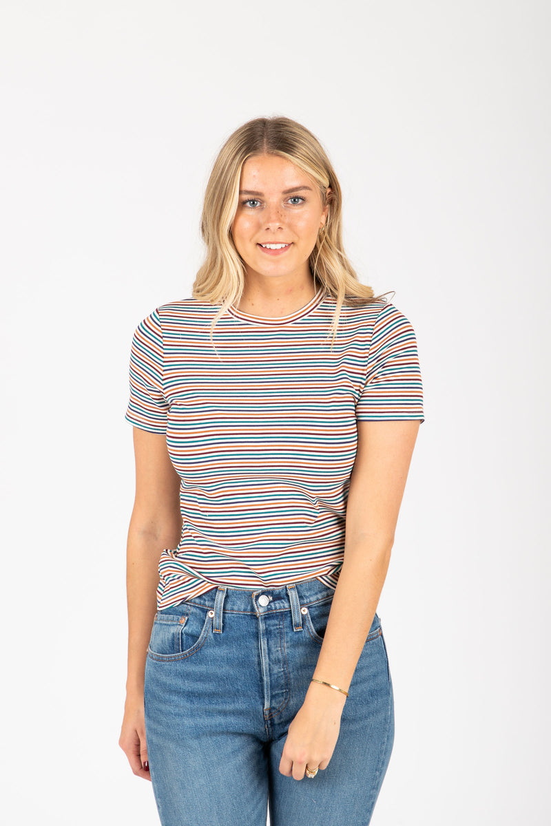 The Strickland Striped Tee in Mutli, studio shoot; front view
