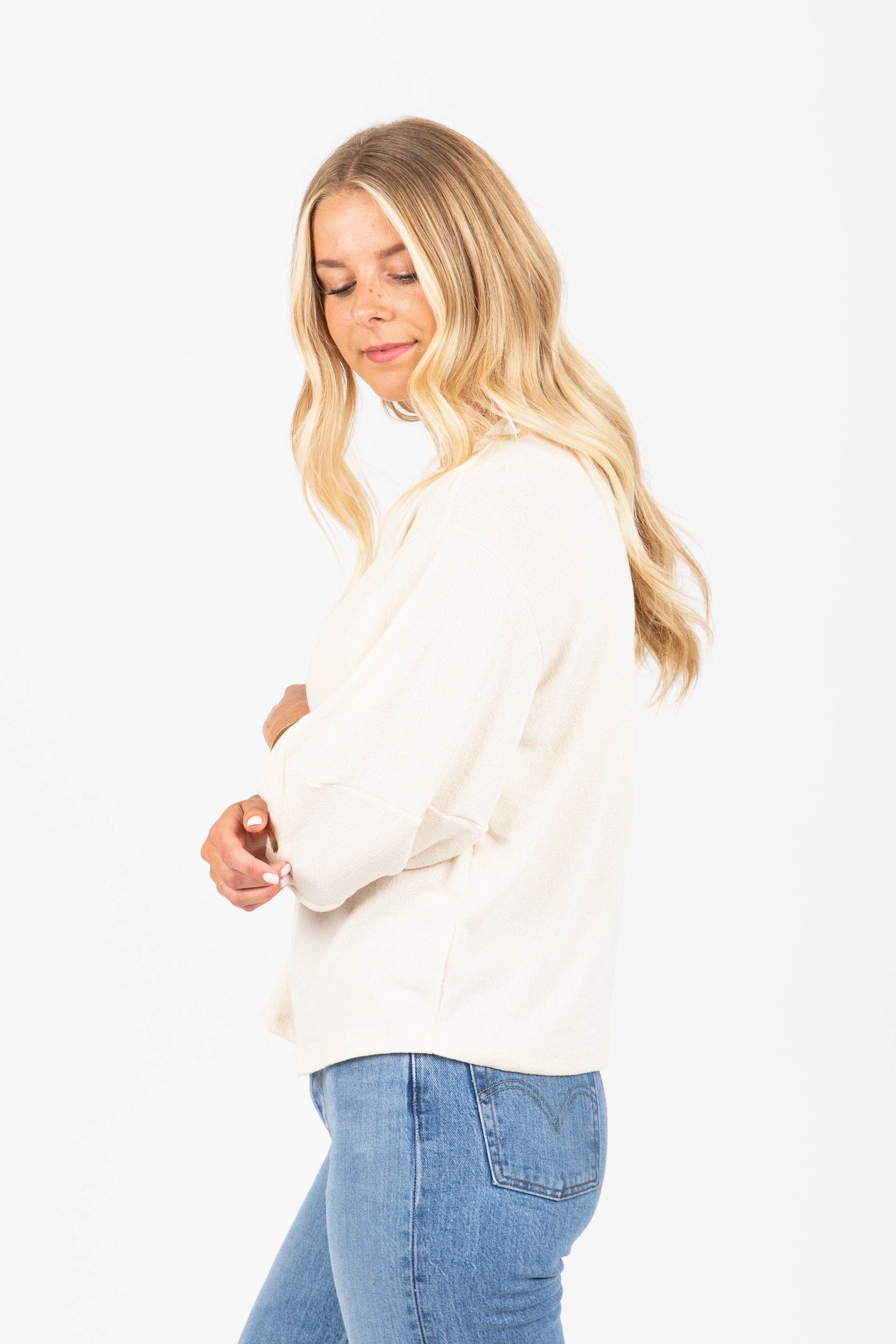 The Charlize Button Balloon Sleeve Blouse in Cream