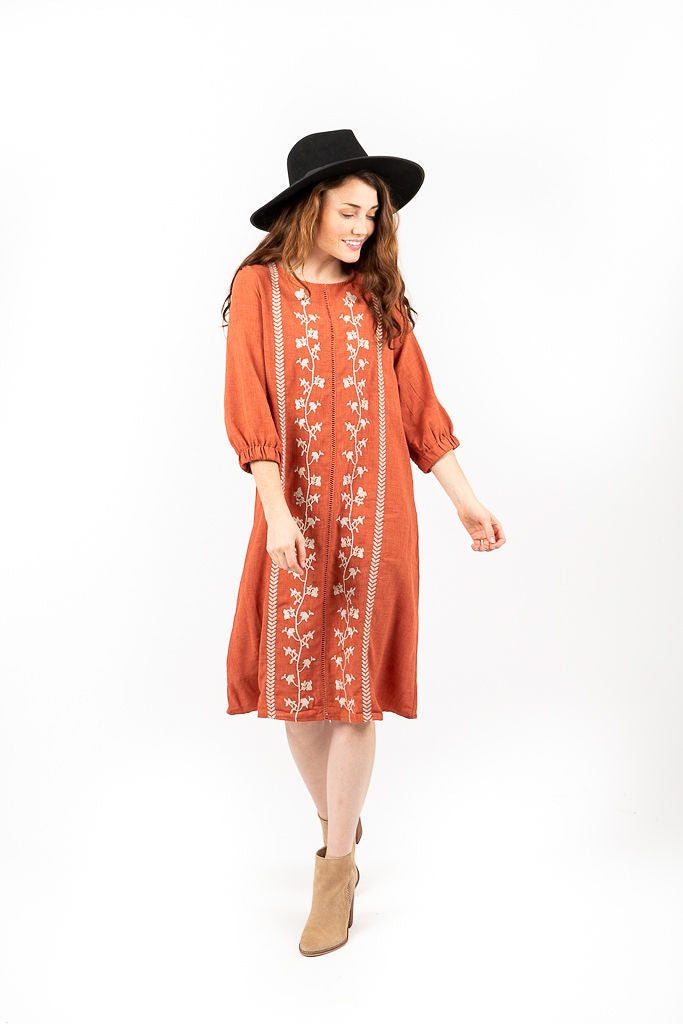 The Renova Embroidered Shift Dress in Brick