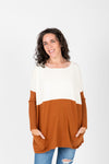 The Strike Casual Pocket Sweater in Camel + Ivory, studio shoot; front view