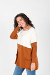 The Strike Casual Pocket Sweater in Camel + Ivory, studio shoot; side view