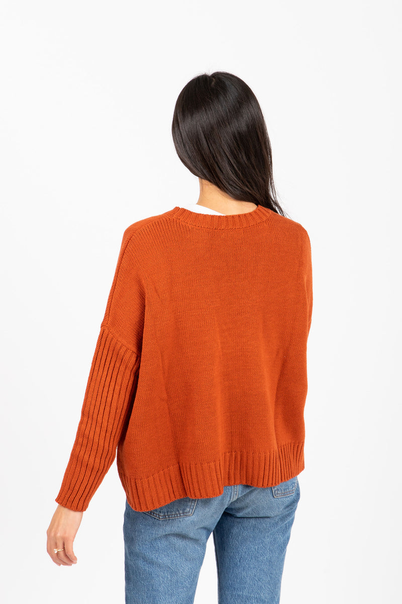 The Saylor Ribbed Button Sweater in Brick, studio shoot; back view