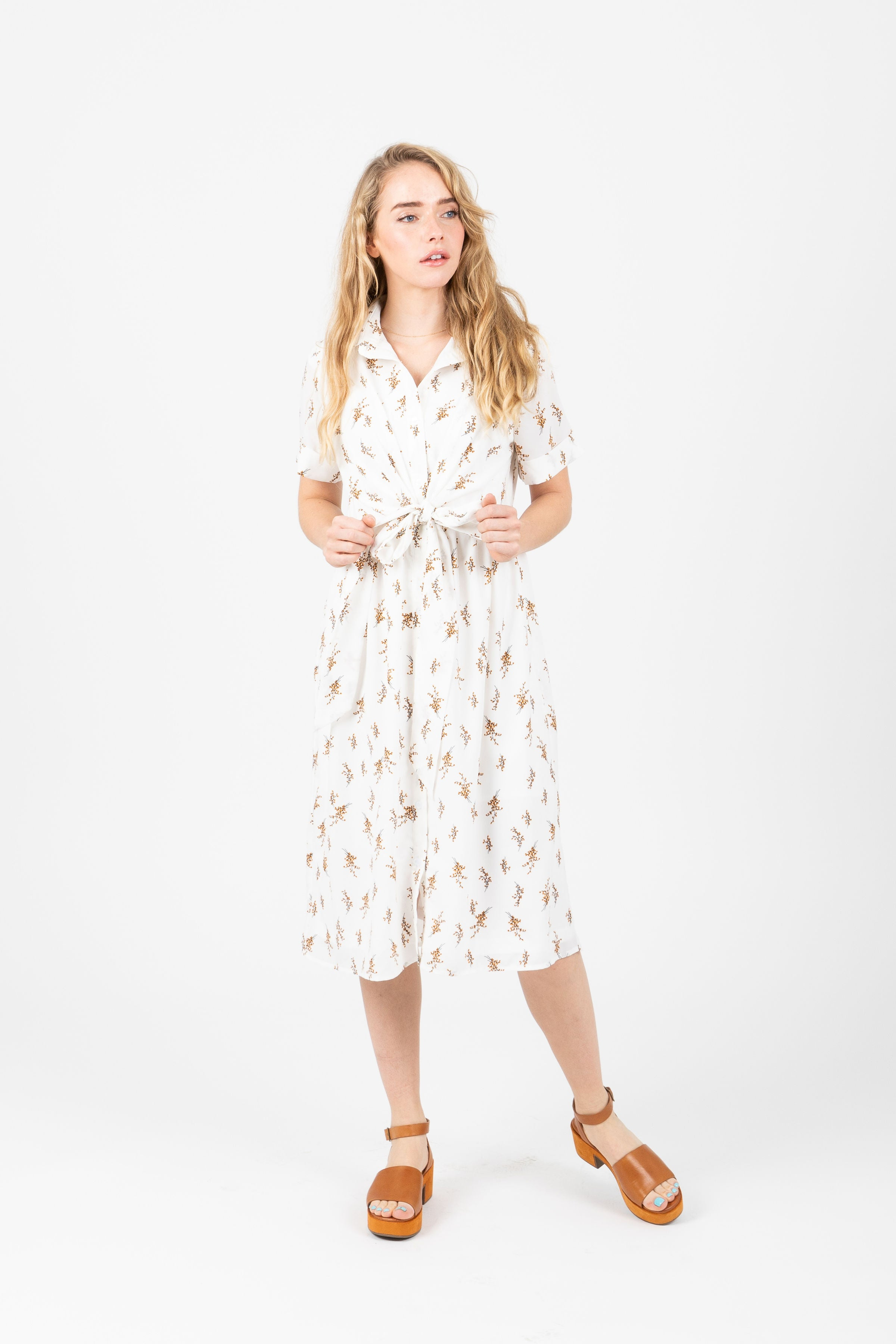 Piper & Scoot: The Sarah Floral Button Down Dress in Ivory